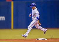 2 April 2016: The Toronto Blue Jays infielder Ryan Goins in action during a pre-season exhibition game against the Boston Red Sox at Olympic Stadium in Montreal, Quebec, Canada. The Red Sox defeated the Blue Jays 7-4 in the second of two MLB weekend games, which saw a two-game series attendance of 106,102 at the former home on the Montreal Expos. Mandatory Credit: Ed Wolfstein Photo *** RAW (NEF) Image File Available ***
