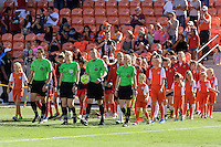 Houston, TX - Sunday Oct. 09, 2016: Pre-game ceremonies, Matthew Franz, Alicia Messer, Nick Uranga, Margaret Domka prior to the National Women's Soccer League (NWSL) Championship match between the Washington Spirit and the Western New York Flash at BBVA Compass Stadium. The Western New York Flash win 3-2 on penalty kicks after playing to a 2-2 tie.