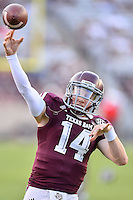 Texas A&M quarterback Conner McQueen (14) warms up before NCAA Football game, Saturday, September 06, 2014 in College Station, Tex. (Mo Khursheed/TFV Media via AP Images)