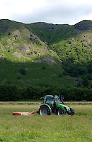 Mowing grass for making hay, Patterdale, Lake District.....Copyright..John Eveson, Dinkling Green Farm, Whitewell, Clitheroe, Lancashire. BB7 3BN.01995 61280. 07973 482705.j.r.eveson@btinternet.com.www.johneveson.com