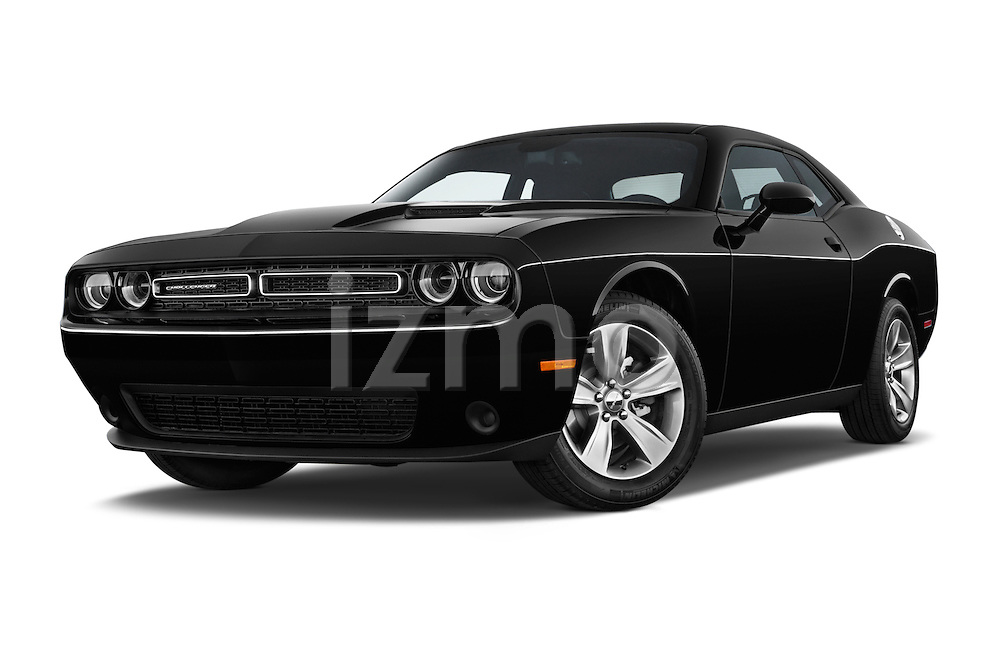 Stock pictures of low aggressive front three quarter view of a 2015 Dodge Challenger SXT 2 Door Coupe Low Aggressive