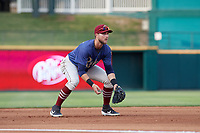 Frisco RoughRiders Charles Leblanc (12) during a Texas League game against the Springfield Cardinals on May 6, 2019 at Dr Pepper Ballpark in Frisco, Texas.  (Mike Augustin/Four Seam Images)
