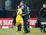 Dundee v St Johnstone…10.03.18…  Dens Park    SPFL<br />Chris Millar gets a hug from Manager Tommy Wright as he is subbed<br />Picture by Graeme Hart. <br />Copyright Perthshire Picture Agency<br />Tel: 01738 623350  Mobile: 07990 594431