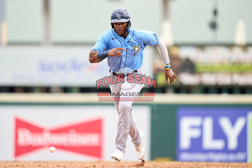 FCL Rays Estanli Castillo (70) running the bases during a game against the FCL Pirates Gold on July 26, 2021 at LECOM Park in Bradenton, Florida. (Mike Janes/Four Seam Images)