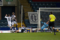 29th December 2020; Dens Park, Dundee, Scotland; Scottish Championship Football, Dundee FC versus Alloa Athletic; Steven Hetherington of Alloa Athletic scores the opening goal to put his side 1-0 ahead in the 10th minute