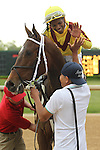 HOT SPRINGS, AR - APRIL 9: Jockey Ricardo Santana, Jr. aboard Terra Promessa #2, after winning the Fantasy Stakes at Oaklawn Park on April 9, 2016 in Hot Springs, Arkansas. (Photo by Justin Manning/Elipse Sportwire/Getty Images)