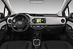 Stock photo of straight dashboard view of 2017 Toyota Yaris Comfort 5 Door Hatchback