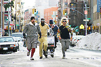 Teams race during the second annual Idiotarod in New York City on January 29, 2005.<br /> <br /> The playfully named Idiotarod is a race between teams of five people pulling stylized shopping carts, starting in the borough of Brooklyn and ending in Manhattan.  Teams are given only checkpoints and must devise their own routes to make it to each finish line.  Awards are not only given to the first finishers but also to those with the best costumes, best bribes, and most creative sabotage techniques.  Imbibing of alcohol or other substances is neither required nor discouraged and the race is administered by the mysterious group C.O.B.R.A. (Carts of Brooklyn Racing Association).
