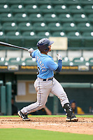 FCL Rays Mario Fernandez (59) hits a home run during a game against the FCL Pirates Gold on July 26, 2021 at LECOM Park in Bradenton, Florida. (Mike Janes/Four Seam Images)
