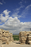 Israel, Jezreel valley. City gate from the Iron Age of Tel Megiddo, a World Heritage Site
