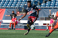 FOXBOROUGH, MA - JULY 25: USL League One (United Soccer League) match. Orlando Sinclair #99 of New England Revolution II shoots the ball during a game between Union Omaha and New England Revolution II at Gillette Stadium on July 25, 2020 in Foxborough, Massachusetts.