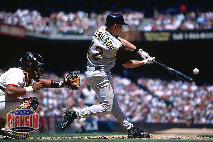 SAN FRANCISCO, CA - Jack Wilson of the Pittsburgh Pirates bats during a game against the San Francisco Giants at Pacific Bell Park in San Francisco, California in 2002. Photo by Brad Mangin
