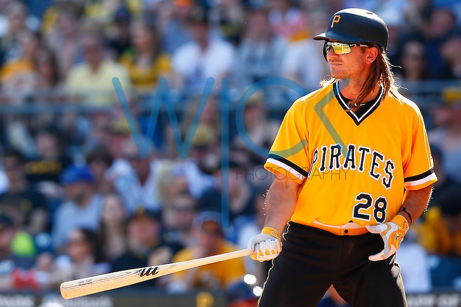 John Jaso #28 of the Pittsburgh Pirates in action against the Milwaukee Brewers during the game at PNC Park in Pittsburgh, Pennsylvania on April 17, 2016. (Photo by Jared Wickerham / DKPS)