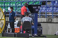 MONTERIA - COLOMBIA, 19-03-2021: Jhon Hinestroza, árbitro, durante el partido por la fecha 13 Liga BetPlay DIMAYOR I 2021 entre Jaguares de Córdoba F.C. Aguilas Doradas Rionegro jugado en el estadio Jaraguay de la ciudad de Montería. / Jhon Hinestroza, referee, during match for the date 13 BetPlay DIMAYOR League I 2021 between Jaguares de Cordoba F.C. and Aguilas Doradas Rionegro played at Jaraguay stadium in Monteria city. Photo: VizzorImage / Andres Felipe Lopez / Cont