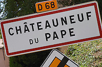road sign chateauneuf du pape rhone france