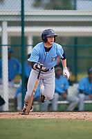 Tampa Bay Rays left fielder Jake Fraley (8) follows through on a swing during an Instructional League game against the Pittsburgh Pirates on October 3, 2017 at Pirate City in Bradenton, Florida.  (Mike Janes/Four Seam Images)