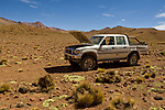 Truck that's overheating after driving up mountain, Abra Granada, Andes, northwestern Argentina