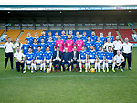St Johnstone FC Photocall….2018/19 Season<br />Pictured back row from left, Liam Craig, Ali McCann, Brian Easton, Murray Davidson, Greg Hurst, Liam Gordon, Jason Kerr, Steven Anderson, Ross Callachan, Tony Watt, Kyle McClean and David McMillan.<br />Middle row from left, Ewan Peacock (Chief Scout), Mel Stewart (Physio), Danny Swanson, Tristan Nydam, Stefan Scougall, Blair Alston, Ross Sinclair, Zander Clark, Mark Hurst, Scott Tanser, Callum Hendry, Alan Maybury (U20's Coach), Paul Mathers (Goalkeeping Coach) and Alistair Stevenson (Youth Development Manager).<br />Front row from left, Alex Headrick (Sports Science), Aaron Comrie, Matty Kennedy, Joe Shaughnessy (Captain), Tommy Wright (Manager), John MacGregor (Sponsors Binn Group), Alex Cleland (Assistant Manager), David Wotherspoon, Richard Foster, Drey Wright, Chris Kane and Graeme Robertson (Kit Manager)<br />Picture by Graeme Hart.<br />Copyright Perthshire Picture Agency<br />Tel: 01738 623350  Mobile: 07990 594431