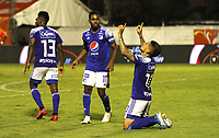 ENVIGADO- COLOMBIA,14-10- 2020:Cristian Arango de  Millonarios  celebra después de anotar el segundo gol de su equipo durante el partido entre Envigado y Millonarios  por la fecha 14 de la Liga BetPlay DIMAYOR I 2020 jugado en el estadio Polideportivo Sur de Envigado . / Cristian Arango of Millonarios celebrates after scoring the Second goal of his team during match between Envigado and Millonarios for the date 14 BetPlay DIMAYOR League I 2020 played at Polideportivo Sur stadium in Envigado city. Photo: VizzorImage / Juan Augusto Cardona  / Contrbuidor