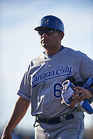 AZL Royals hitting coach Ramon Castro (62) walks off the field between innings of an Arizona League game against the AZL Cubs 1 on June 30, 2019 at Sloan Park in Mesa, Arizona. AZL Royals defeated the AZL Cubs 1 9-5. (Zachary Lucy/Four Seam Images)