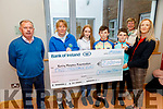 Catriona Crowley presents the sum of €2,020 to the Kerry Hospice from her recent Pilates on Zoom fundraiser for Kerry Hospice.<br /> L to r: Joe Hennebry, Andrea O'Donoghue, Rachel, David and Sean Sargent, Maura O'Sullivan and Catriona Crowley.
