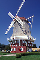 AJ0286, Iowa, Orange City, windmill, A Danish style windmill is used for a bank in Orange City.