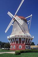 AJ0286, Iowa, Orange City, windmill, A Danish style windmill is used for a bank in Orange City.