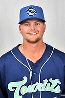 Asheville Tourists infielder Hunter Stovall (1) during media day at McCormick Field on April 2, 2019 in Asheville, North Carolina. (Tony Farlow/Four Seam Images)