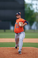 Houston Astros Juan Santos (63) during a minor league Spring Training game against the Detroit Tigers on March 30, 2016 at Tigertown in Lakeland, Florida.  (Mike Janes/Four Seam Images)