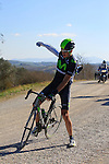 Marc Soler Gimenez (ESP) Movistar Team stops to putt on his jacket on Sector 7 Monte Sante Maria of gravel during the 2015 Strade Bianche Eroica Pro cycle race 200km over the white gravel roads from San Gimignano to Siena, Tuscany, Italy. 7th March 2015<br /> Photo: Eoin Clarke/www.newsfile.ie