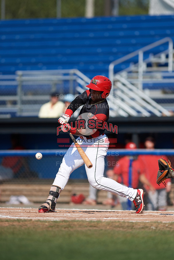 Batavia Muckdogs left fielder Terry Bennett (33) at bat during the second game of a doubleheader against the Williamsport Crosscutters on August 20, 2017 at Dwyer Stadium in Batavia, New York.  Batavia defeated Williamsport 4-3.  (Mike Janes/Four Seam Images)