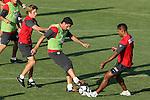Atletico de Madrid's Raul Garcia (c), Keko (l) and Cleber Santana (r) during training sesion. August 05 2009. (ALTERPHOTOS/Acero).