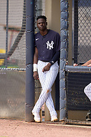 FCL Yankees Angel Rojas (19) during a game against the FCL Tigers East on July 27, 2021 at the Yankees Minor League Complex in Tampa, Florida. (Mike Janes/Four Seam Images)