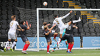 Joe Kizzi of Bromley heads the ball just over the Brentford goal during Bromley vs Brentford B, Friendly Match Football at Hayes Lane on 3rd October 2020
