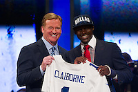 NFL commissioner Roger Goodell with The sixth overall pick cornerback Morris Clairborne (Louisiana State)  of the Dallas Cowboys during the first round of the 2012 NFL Draft at Radio City Music Hall in New York, NY, on April 26, 2012.