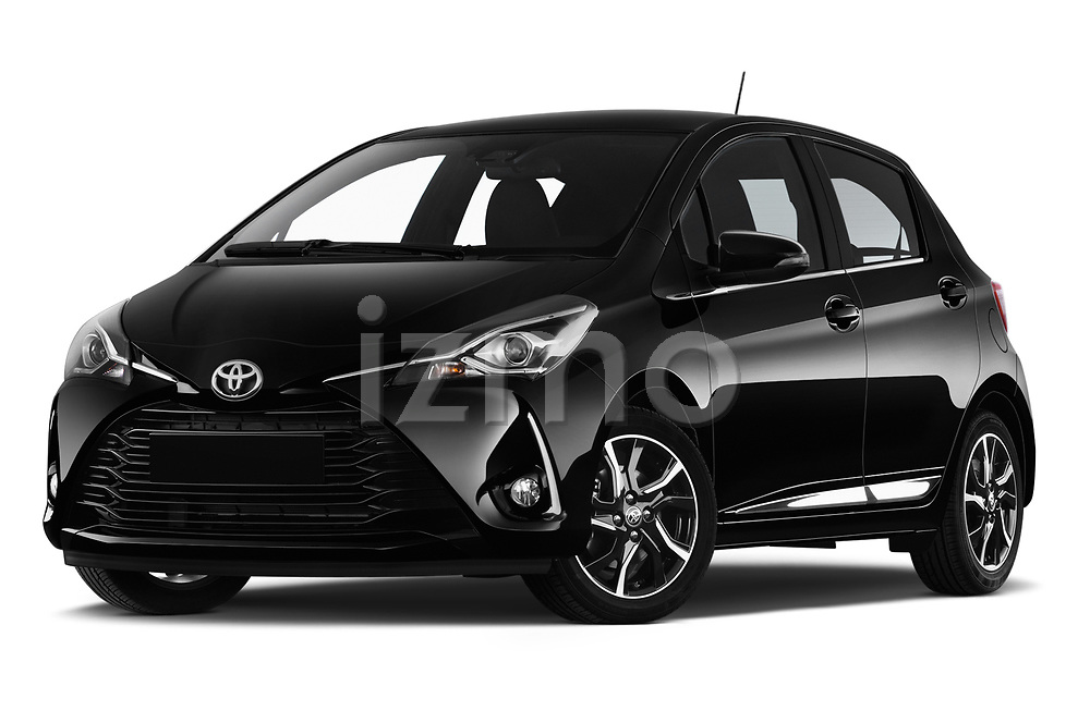 Stock pictures of low aggressive front three quarter view of a 2018 Toyota Yaris Lounge 5 Door Hatchback