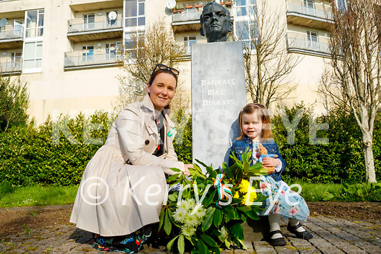 Attending the laying of a wreath at the Padraig Pearse memorial in Páirc anPhiarsaigh in Denny Street on Easter Sunday. L to r: Aoife and Neasa O'Donoghue.