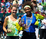 Serena Williams and Lucie Safarova at the Family Circle Cup in Charleston, South Carolina on April 8, 2012