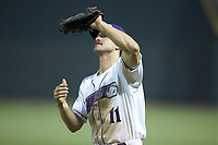 Winston-Salem Dash first baseman Jameson Fisher (11) catches a pop fly during the game against the Lynchburg Hillcats at BB&T Ballpark on May 9, 2019 in Winston-Salem, North Carolina. The Dash defeated the Hillcats 4-1. (Brian Westerholt/Four Seam Images)