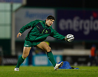 20th February 2021; Galway Sportsgrounds, Galway, Connacht, Ireland; Guinness Pro 14 Rugby, Connacht versus Cardiff Blues; Connacht hooker Dave Heffernan stretches to catch the ball during the warm up