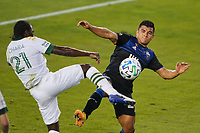 SAN JOSE, CA - SEPTEMBER 19: Diego Chara #21 of the Portland Timbers battles for the ball with Nick Lima #24 of the San Jose Earthquakes during a game between Portland Timbers and San Jose Earthquakes at Earthquakes Stadium on September 19, 2020 in San Jose, California.