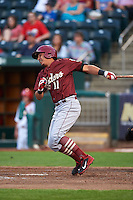 Frisco RoughRiders shortstop Edwin Garcia (11) at bat during a game against the Springfield Cardinals on June 3, 2015 at Hammons Field in Springfield, Missouri.  Springfield defeated Frisco 7-2.  (Mike Janes/Four Seam Images)