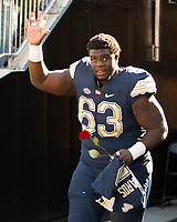 Pitt senior offensive lineman Alex Officer is honored on senior day. The Pitt Panthers upset the undefeated Miami Hurricanes 24-14 on November 24, 2017 at Heinz Field, Pittsburgh, Pennsylvania.