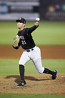 Kannapolis Intimidators relief pitcher Joe Mockbee (21) delivers a pitch to the plate against the Hagerstown Suns at Kannapolis Intimidators Stadium on July 16, 2018 in Kannapolis, North Carolina. The Intimidators defeated the Suns 7-6. (Brian Westerholt/Four Seam Images)