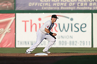 Jordan Zimmerman (3) of the Inland Empire 66ers in the field during a game against the Rancho Cucamonga Quakes at San Manuel Stadium on July 29, 2017 in San Bernardino, California. Inland Empire defeated Rancho Cucamonga, 6-4. (Larry Goren/Four Seam Images)