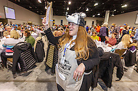 Volunteer Karen Tallent pushes Iditarod raffle tickets at the 2016 Iditarod musher position drawing banquet at the Dena'ina convention center in Anchorage, Alaska on Thursday March 3, 2016  <br /> <br /> © Jeff Schultz/SchultzPhoto.com ALL RIGHTS RESERVED<br /> DO NOT REPRODUCE WITHOUT PERMISSION