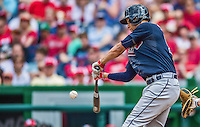 22 June 2014: Atlanta Braves shortstop Andrelton Simmons in action against the Washington Nationals at Nationals Park in Washington, DC. The Nationals defeated the Braves 4-1 to split their 4-game series and take sole possession of first place in the NL East. Mandatory Credit: Ed Wolfstein Photo *** RAW (NEF) Image File Available ***