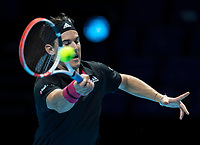 15th November 2020, O2, London, England;  Dominic Thiem of Austria returns a shot during the singles group match against StefanTsitsipas of Greece at the ATP, Tennis Mens World Tour Finals 2020 in London
