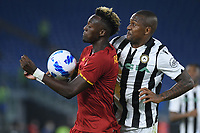 23rd September 2021;  Stadio Olimpicom, Roma, Italy; Serie A League Football, Roma versus Udinese; Tammy Abraham of AS Roma collects the ball on his chest as Walace of Udinese challenges
