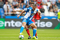 Deportivo de la Coruna's Florin Andone (f) and Real Sociedad's Alvaro Odriozola during La Liga match. September 10,2017.  *** Local Caption *** © pixathlon<br /> Contact: +49-40-22 63 02 60 , info@pixathlon.de